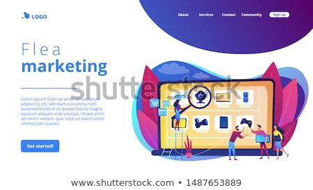 ilustración · personas · fuera · compras · mercado - foto stock © rastudio