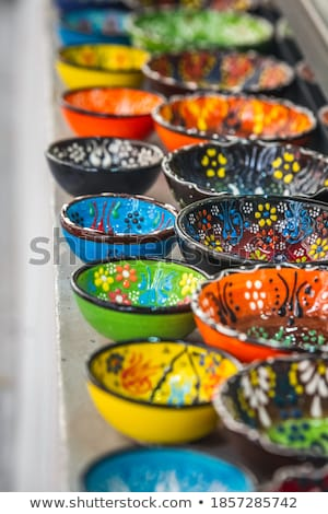 Színes török kerámia vásár bazár Isztambul Stock fotó © borisb17