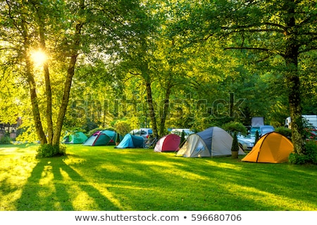 picknick · tent · bos · rivieroever · hemel · boom - stockfoto © bborriss
