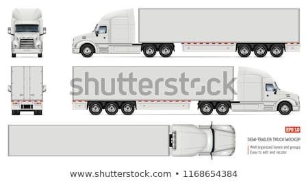 vector cargo semi truck template isolated on white stock photo © mechanik