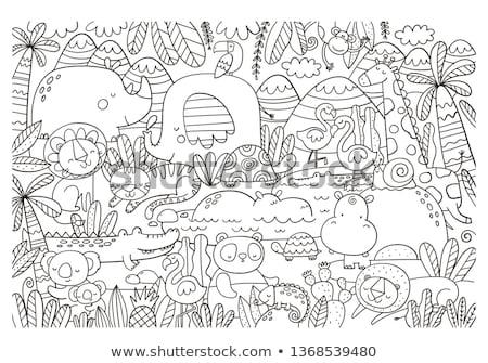 Tigru animal desen animat carte de colorat negru alb Imagine de stoc © izakowski