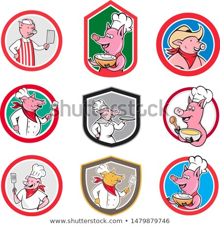 повар · свинья · мультфильм · талисман · характер · круга - Сток-фото © patrimonio