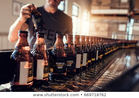 man working at craft brewery or beer plant Stock photo © dolgachov