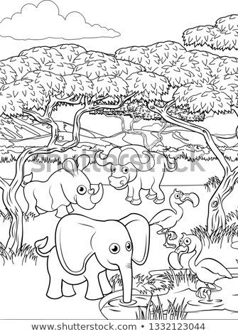 African buffalo animal character coloring book Stock photo © izakowski