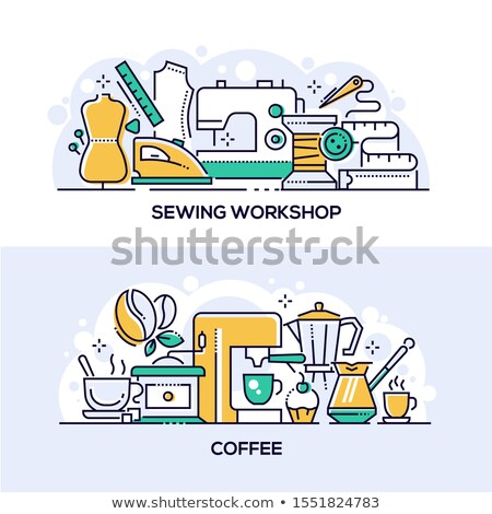 Nähen Workshop Kaffee Banner Vorlagen Set Stock foto © Decorwithme