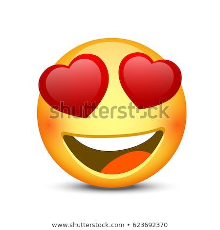 hart · ogen · Geel · emoticon · gezicht · 3D - stockfoto © cienpies