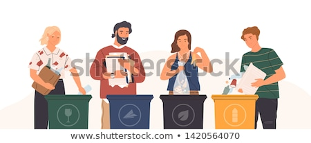 glass waste recycling   modern cartoon people characters illustration stock photo © decorwithme