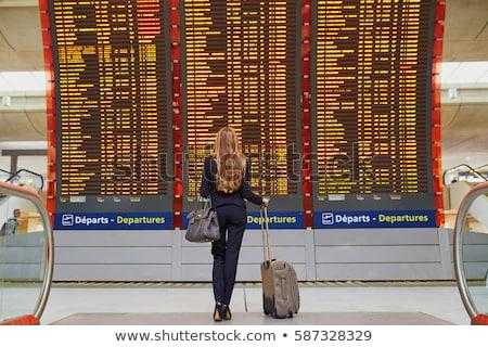 jeune · femme · bagages · internationaux · aéroport · attente · vol - photo stock © lightpoet