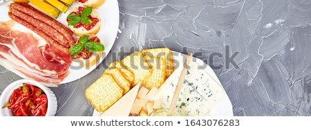 Banner of Italian antipasti wine snacks set. Antipasto catering platter Stock photo © Illia
