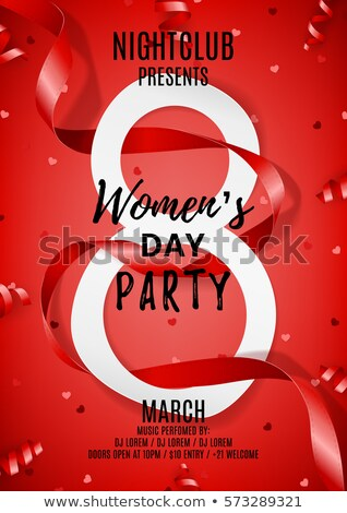 8 March. Womens Day Greeting Card Design with Tulip Flower. International Female Holiday Illustratio Stock photo © articular
