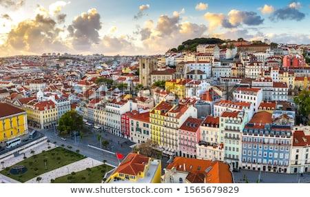 Ver Lisboa Portugal cidade velha rosa pôr do sol Foto stock © neirfy