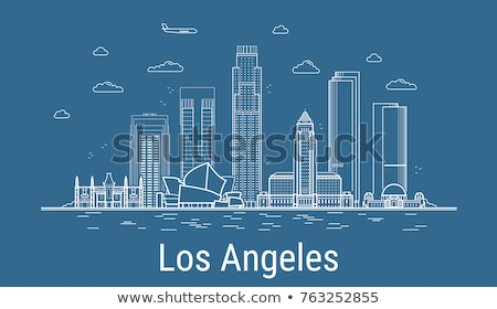 Outline Los Angeles Skyline with Blue Buildings. Stock photo © ShustrikS