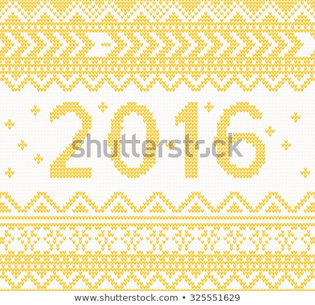 Christmas Knitted Yellow New Year 2016 card Stock photo © ShustrikS
