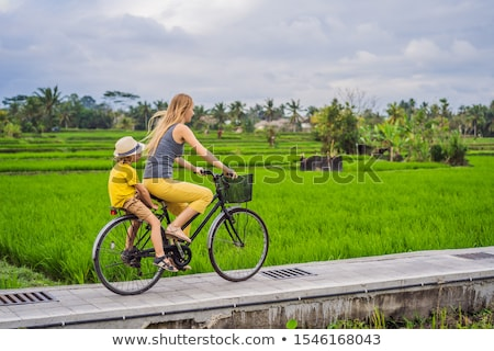 Anne oğul bisiklet bali seyahat Stok fotoğraf © galitskaya