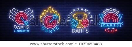 Darts neon label computerspel promotie sport Stockfoto © Anna_leni