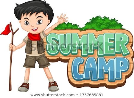 Font design for summer camp with cute kid at park Stock photo © bluering