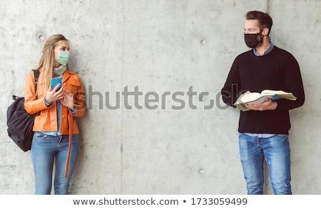 2 学生 立って 社会 距離 着用 ストックフォト © Kzenon
