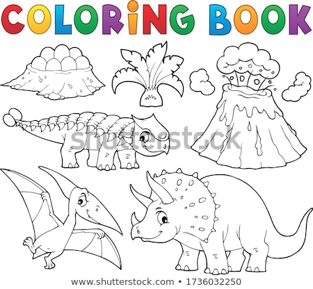 Coloring book dinosaur subject image 5 Stock photo © clairev