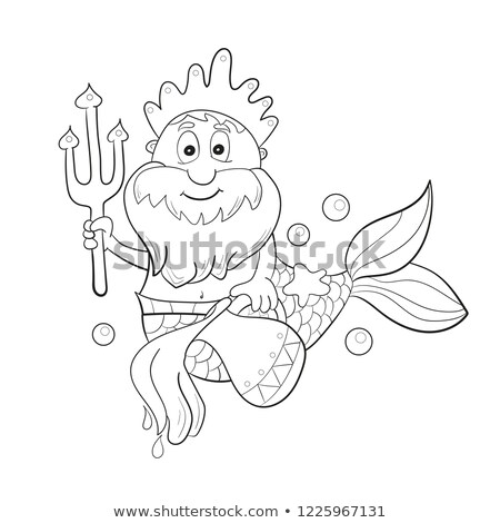 Horoscope zodiac sign - aquarius. Cartoon Poseidon. Coloring for kids Stock photo © natali_brill