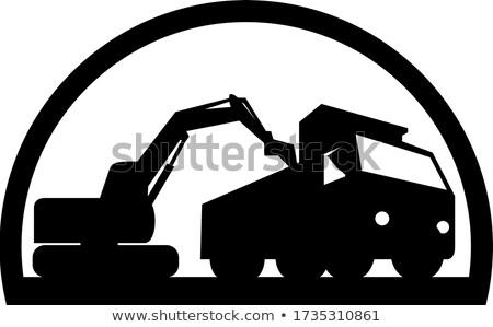 Mechanische LKW schwarz weiß Illustration Bagger Stock foto © patrimonio