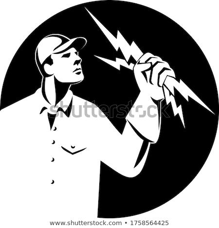 Electrician Lineman Holding Lightning Bolt Side View Retro Black and White Stock photo © patrimonio