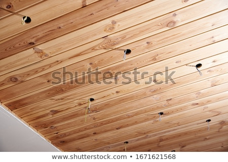 Wooden ceiling, electric wire Stock photo © RuslanOmega