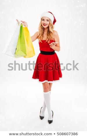 Schönen blond Frau Weihnachten Kostüm Einkaufstaschen Stock foto © Nobilior