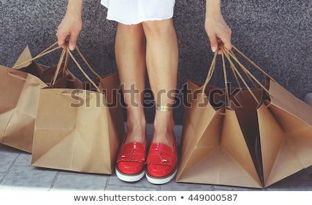 Vermelho sapato feliz mulher menina Foto stock © ssuaphoto