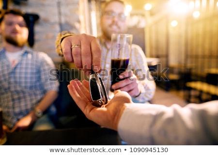 bêbado · condução · champanhe · vidro · teclas · uísque - foto stock © morrbyte