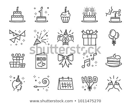 Cumpleanos iconos papel alimentos torta Foto stock © timurock