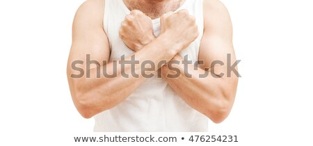 man in white singlet with crossed hands stock photo © Paha_L