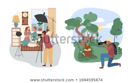 Photographer photographs in  forest Stock photo © Paha_L