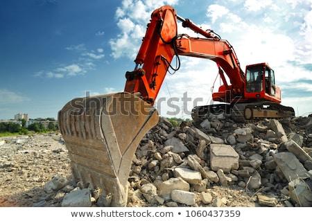 sloop · huis · oranje · bomen · machines · vernietiging - stockfoto © jamdesign