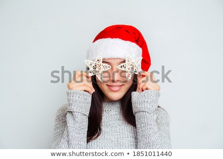 young brunette woman having fun with santas hat Stock photo © Rob_Stark