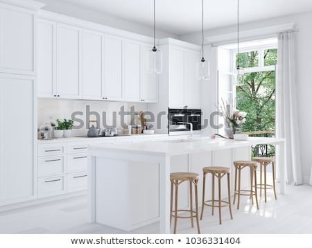 nowoczesne · kuchnia · czarno · białe · wersja · stylu · minimalizm - zdjęcia stock © goce