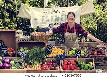 gazdák · piac · választás · friss · zöldségek · étel · egészség - stock fotó © pterwort