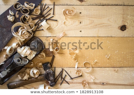 Photo stock: Mains · charpentier · planche · bois · main