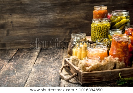 Jars with different preserved vegetables Stock photo © elly_l
