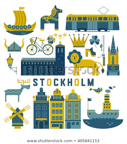 cartoon · Oslo · panoramę · sylwetka · miasta · Norwegia - zdjęcia stock © blamb