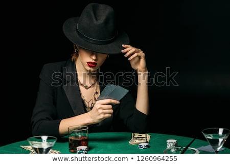 bela · mulher · pôquer · cartões · branco · mão · diversão - foto stock © Rob_Stark
