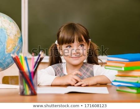 petite · fille · livres · école · heureusement · fille - photo stock © ilona75