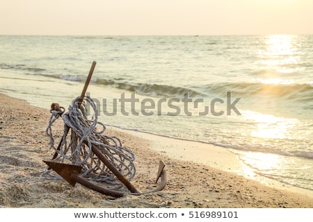 Anker strand hemel metaal veiligheid oceaan Stockfoto © Klodien