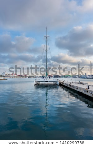 Средиземное · море · порта · деревне · горные · синий · морем - Сток-фото © lunamarina
