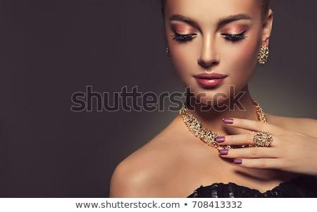 belle · fille · perles · portrait · jeunes · belle · femme · blonde - photo stock © zastavkin