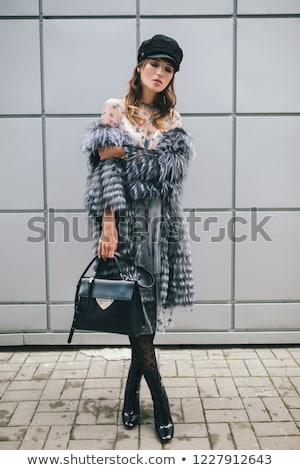 gelukkig · vrouw · bont · hoed · winter · mensen - stockfoto © stryjek
