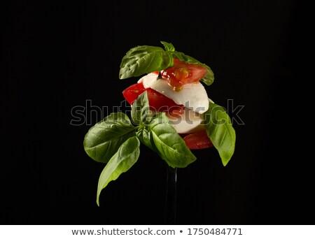 Caprese salatası İtalyan mozzarella peynir domates Stok fotoğraf © bugstomper