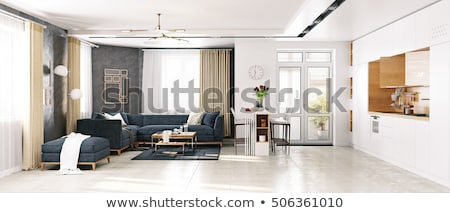 living room with kitchen and a dining table Stock photo © artvitdiz
