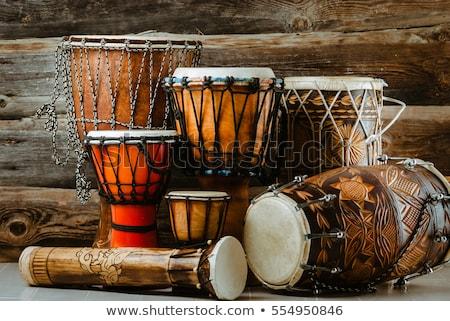 africano · tambor · isolado · branco · música · madeira - foto stock © artush