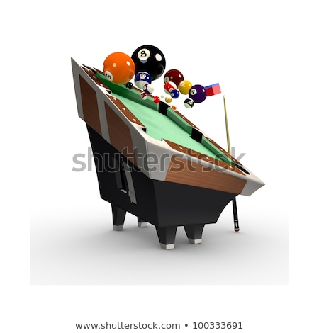 3d deformed Billiards pool table with balls,chalk and cue-stick  Stock photo © Melvin07