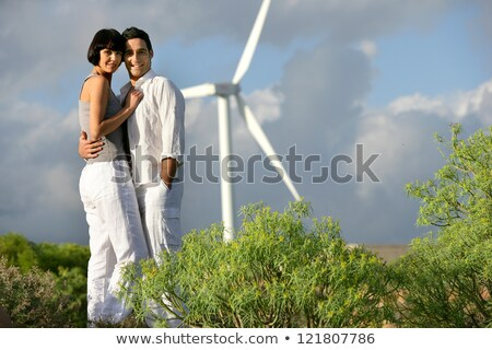 Couple parc éolien femme nature paysage technologie Photo stock © photography33